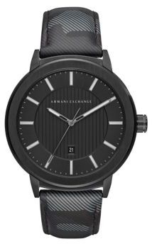 Armani Exchange Camouflage Leather Strap Watch