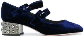 Sebastian double buckle embellished heel pumps