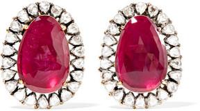 Amrapali 18-karat Gold, Silver, Ruby And Diamond Earrings