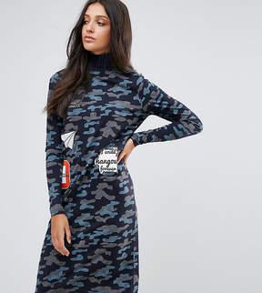 Noisy May Tall Camo Printed Badge Dress