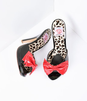 Unique Vintage Black Patent Leather with Red Bow Sandal