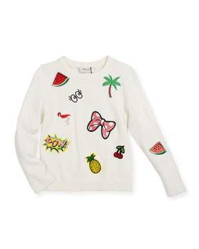 Milly Minis Patches Pullover Sweater, Size 4-7