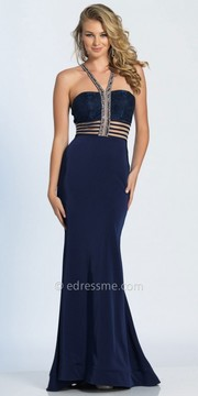 Dave and Johnny Beaded Halter Illusion Striped Fitted Prom Dress