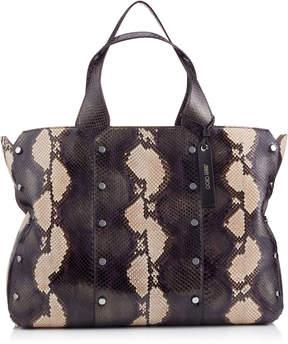 Jimmy Choo LOCKETT SHOPPER Moonstone Brushed Painted Python Tote Bag