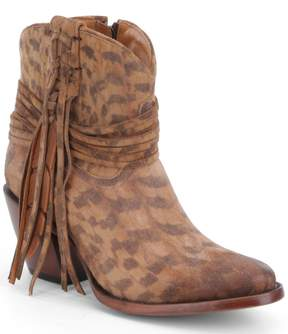 Lucchese Robyn Printed Suede Leather Fringe Block-Heel Booties