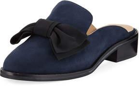 Neiman Marcus Aimy Suede Bow Slide Mule, Blue/Black