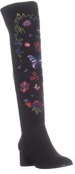 Impo Judy Embroidery Over The Knee Boots, Black.
