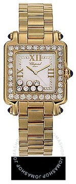Chopard Happy Sport Square 18kt Yellow Gold Ladies Watch