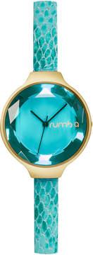 RumbaTime Women's Orchard Gem Exotic Leather Aqua Dial Watch