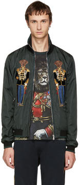 Dolce & Gabbana Green Dog Knight Bomber Jacket