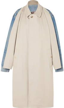 Balenciaga Cotton-twill And Denim Coat - Off-white