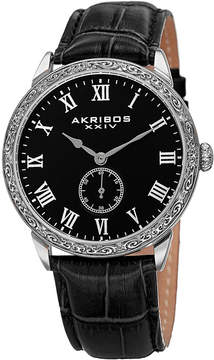 Akribos XXIV Mens Black Strap Watch-A-867ssb