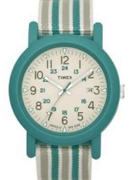Timex T2N491 Unisex Mixed Green Striped Fabric Strap