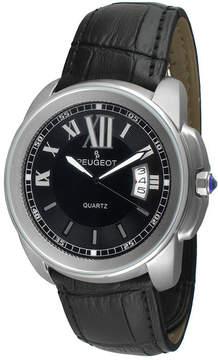 Peugeot Mens Silver-Tone Black Leather Strap Watch 2045SBK
