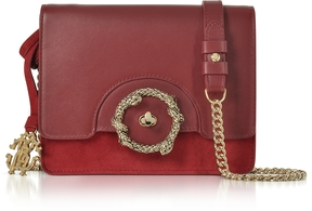 Roberto Cavalli Crimson Leather and Suede Small Shoulder Bag