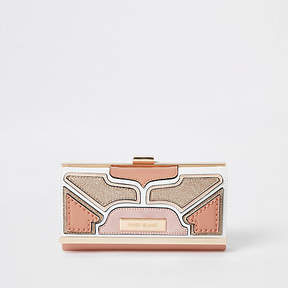 River Island Light pink cutabout panel cliptop purse