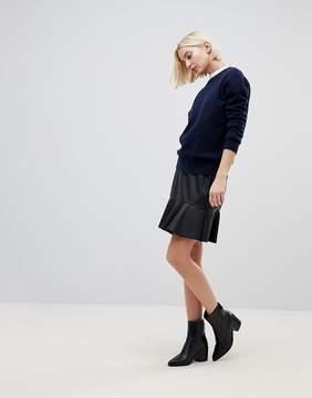 B.young PU Skirt With Peplum Hem