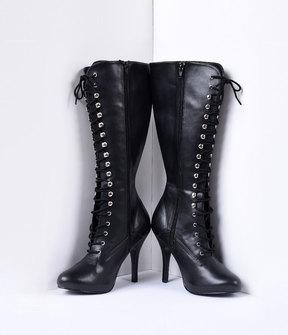 Unique Vintage Black Vegan Leather Lace Up Knee High Stiletto Boots