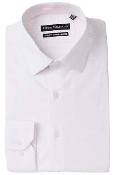 Report Collection Dot Print Stretch Slim Fit Dress Shirt