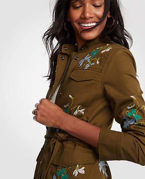 Ann Taylor Embroidered Floral Safari Jacket