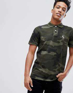 Abercrombie & Fitch Core Slim Fit Polo With Moose Icon in Green Camo