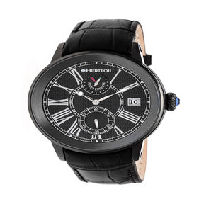 Heritor Mens Black Strap Watch-Herhr4306