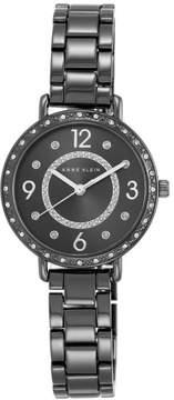 Anne Klein Crystal-Accented Gunmetal-tone Round Dial Bracelet Watch