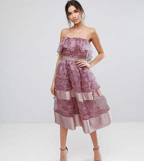 Bardot True Violet Midi Dress in Textured Fringe Fabric with Border Hem