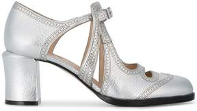 Fendi Silver Mary Jane 70 Leather Pumps