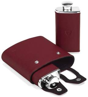 Aspinal of London Double 6Oz Leather Hip Flask In Smooth Burgundy Black Suede