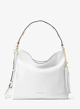 Michael Kors Brooklyn Large Leather Shoulder Bag - WHITE - STYLE