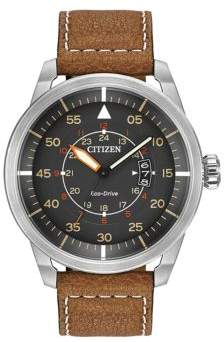 Citizen Mens Eco-Drive Avion Watch with Brown Leather Strap