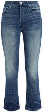 Mother Cropped Faded High-Rise Bootcut Jeans