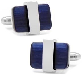 Ice Silver Wrapped Navy Blue Catseye Cufflinks
