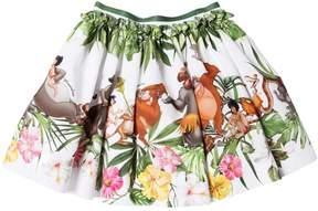 MonnaLisa Jungle Book Print Cotton Poplin Skirt