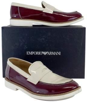 Giorgio Armani Emporio Oxblood & Ivory Patent Leather Loafers