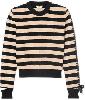 Fendi Lace-up Striped Pointelle-knit Sweater - Black