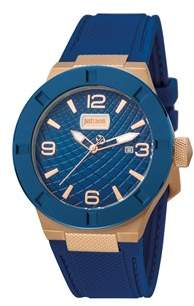 Just Cavalli Mens Iprg Watch With Blue Dial.