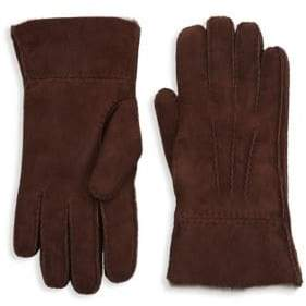 Saks Fifth Avenue COLLECTION Shearling-Lined Suede Fold-Over Gloves
