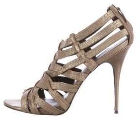 Elizabeth and James Metallic Caged Suede Sandals