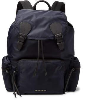 Burberry Cross-Grain Leather-Trimmed Nylon-Gabardine Backpack