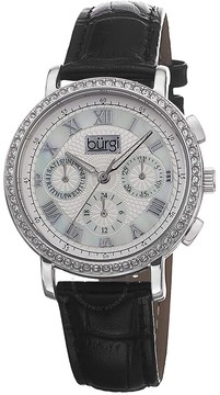 Burgi White Mother of Pearl Dial Black Leather Strap Ladies Watch