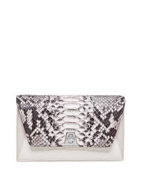 Akris Anouk Python & Leather Chain Envelope Clutch Bag