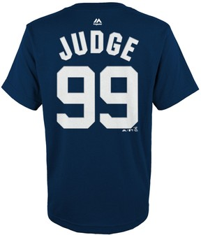 Majestic Boys 4-18 New York Yankees Aaron Judge Player Name and Number Tee
