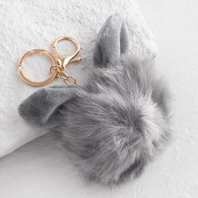 World Market Gold and Gray Faux Fur Bunny Keychain