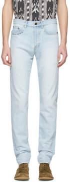 Saint Laurent Blue Embroidered Text Slim Jeans