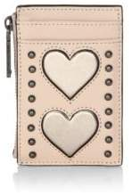 Rebecca Minkoff St Tropez Hearts Leather Card Case - BEIGE - STYLE