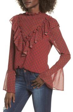 WAYF Women's Eryn Ruffle Bell Sleeve Blouse