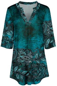 Azalea Teal & Black Floral V-Neck Tunic - Women & Plus