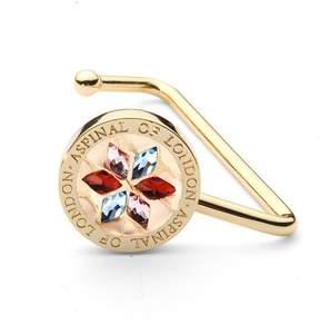Aspinal of London Handbag Hook In Gold Snake Leather Multi Coloured Swarovski Elements